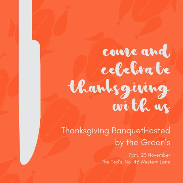 Orange thanksgiving banquet invitation