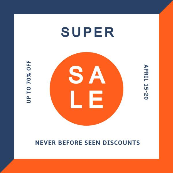 Orange and blue discount promotion