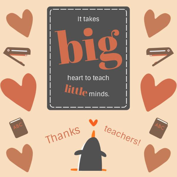 Heart Teacher's Day Appreciation Card