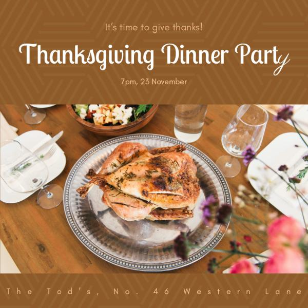 Thanksgiving dinner party invitation