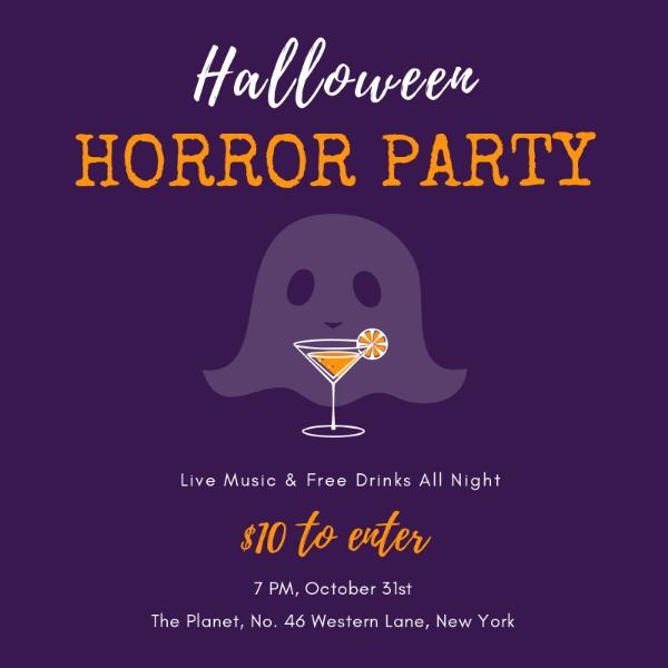 Purple hollywood horror party invitation
