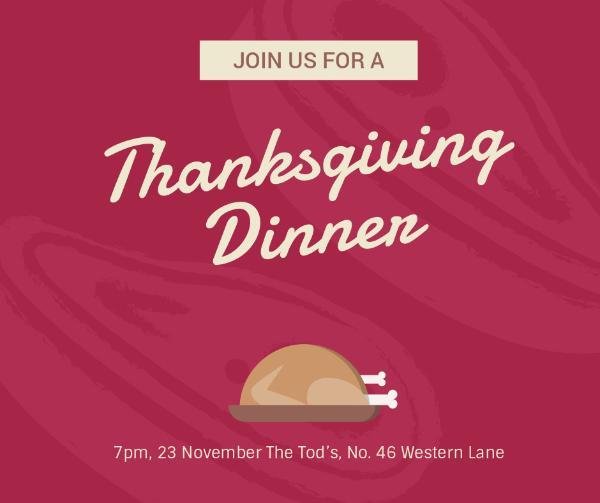 Illustrated turkey thanksgiving dinner invitation