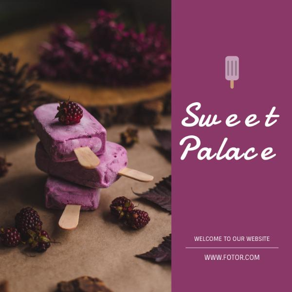 Purple Ice Cream Sweet Food Ad
