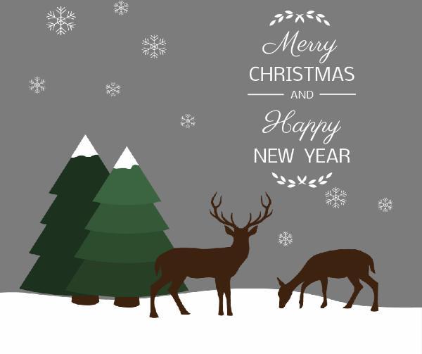 Green tree and deer christmas