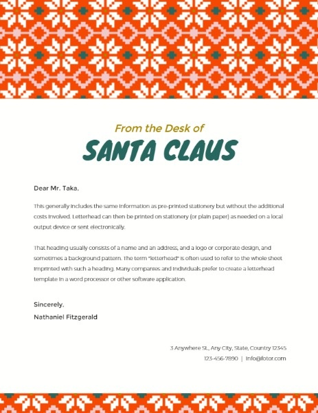 Santa Claus Greeting Letter