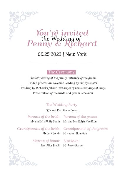 White Wedding Program