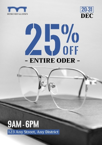Simple Glasses Sale Poster