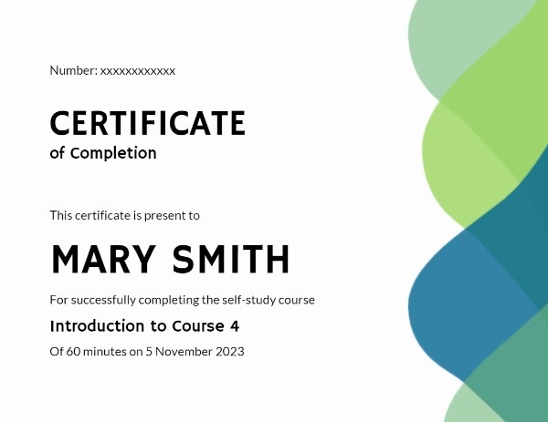 Minimal Certificate Of Completion