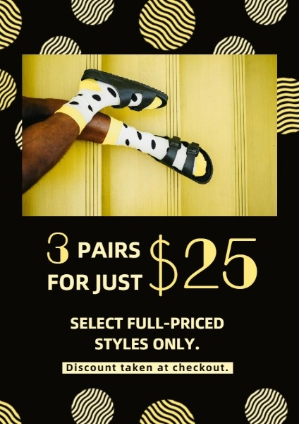 Black And Yellow Polka Dots Socks Sale