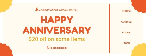 Yellow And Red Anniversary Raffle Ticket