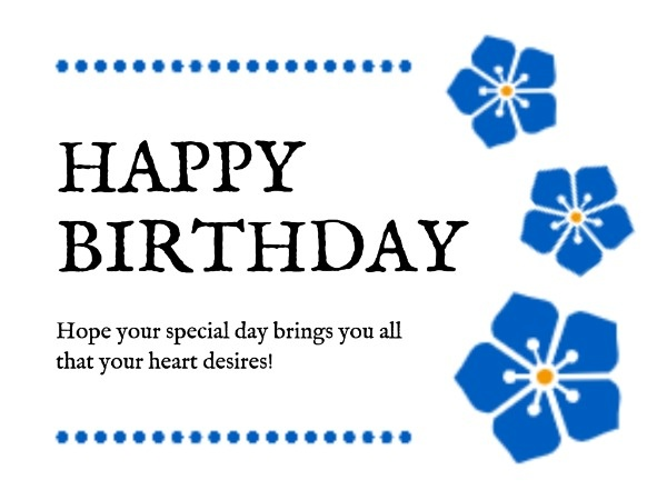 White And Blue Birthday Wishes Card