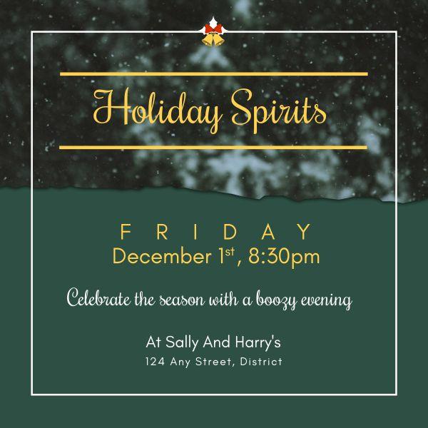 Green Christmas Holiday Celebration Invitation