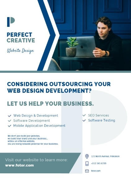 White And Blue Simple Business Web Design Marketing Ads