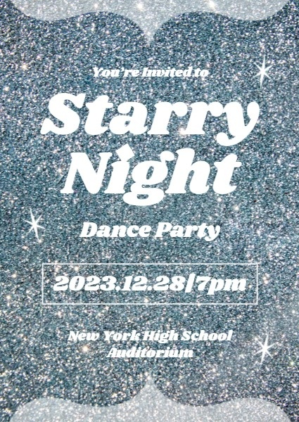 Silver Dance Party Invitation