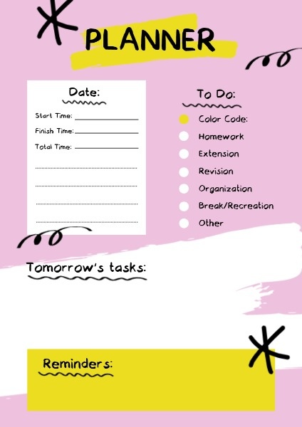 Pink Paint Study Planner