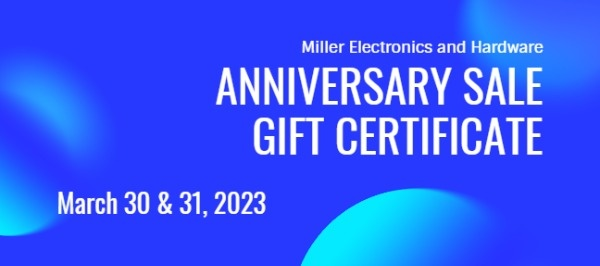 Anniversary Sale Gift Certificate