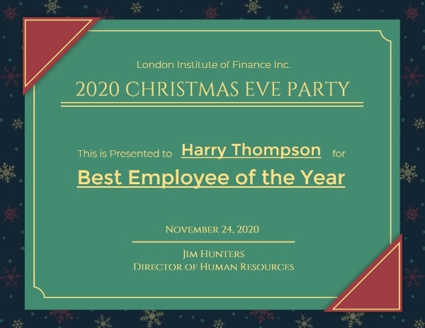 Green Christmas Best Employee Award Certificate