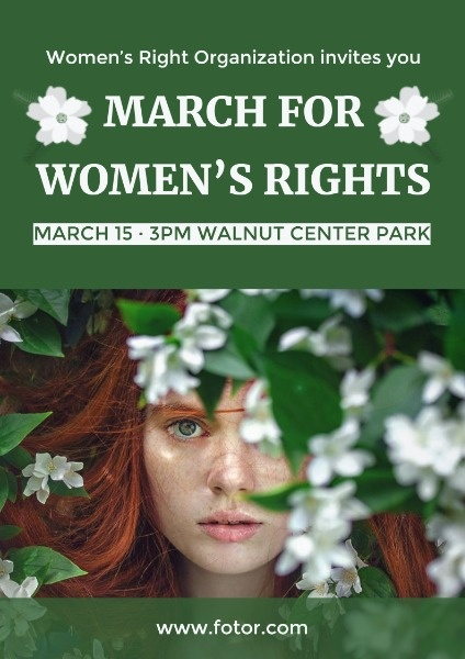 Green Women's Right Campaign Poster