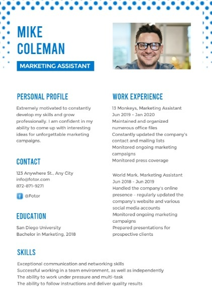 Marketing Assistant Gradient Resume