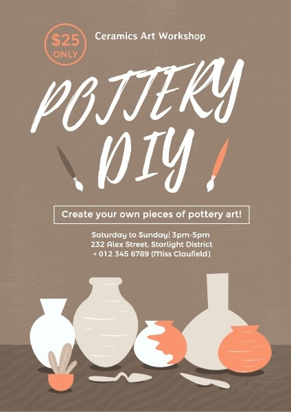 Simple Brown Pottery DIY Class