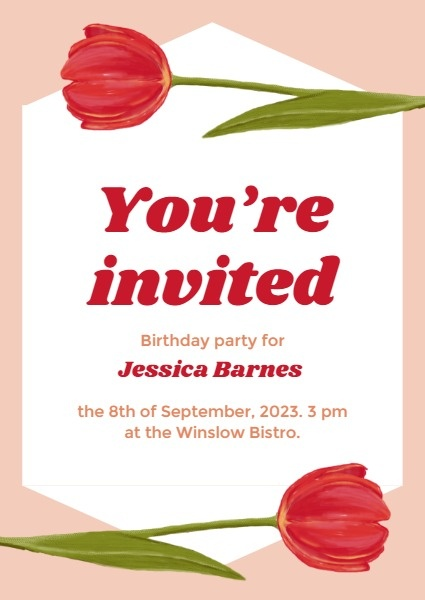 Red Roses Birthday Invitation Letter