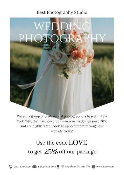 White Wedding Photography Studio Promotion
