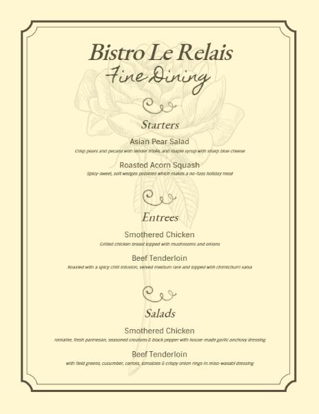 Fine Restaurant Menu
