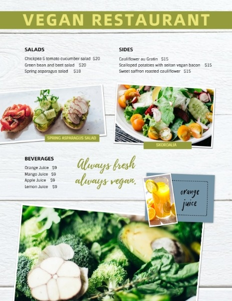 Vegan Restaurant Food Menu