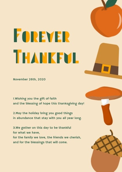 Simple Yellow Thanksgiving Wish Poster