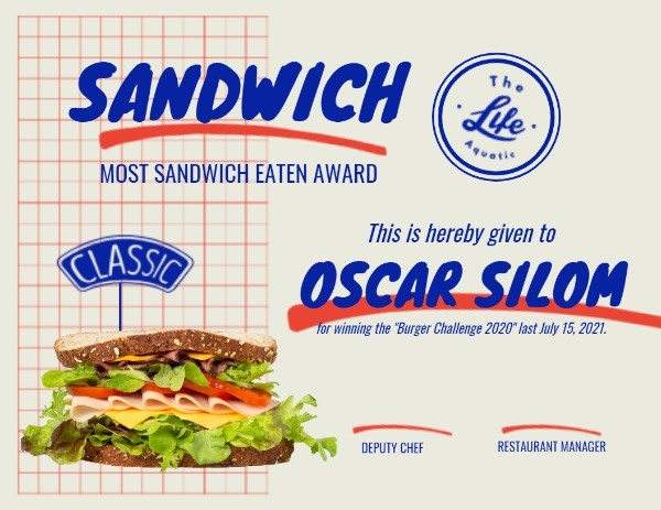 Sandwich Competition Certificate