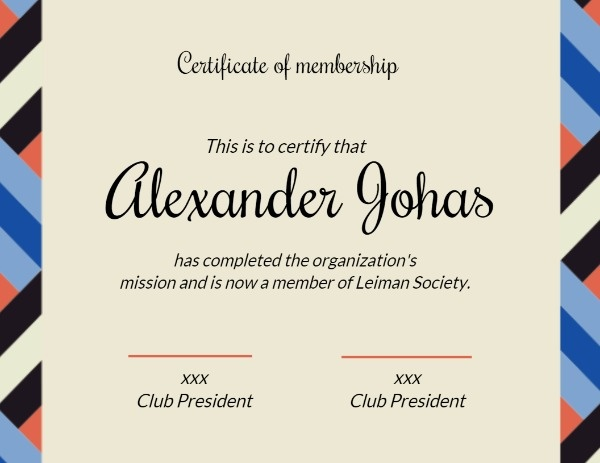 Association Certificate Of Membership