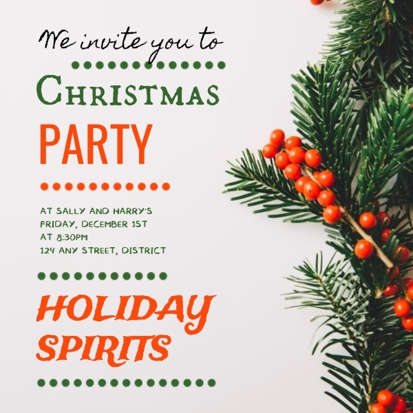 White Christmas Dance Party Invitation