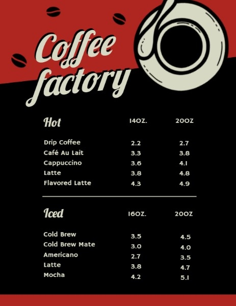 Coffee Factory Menu