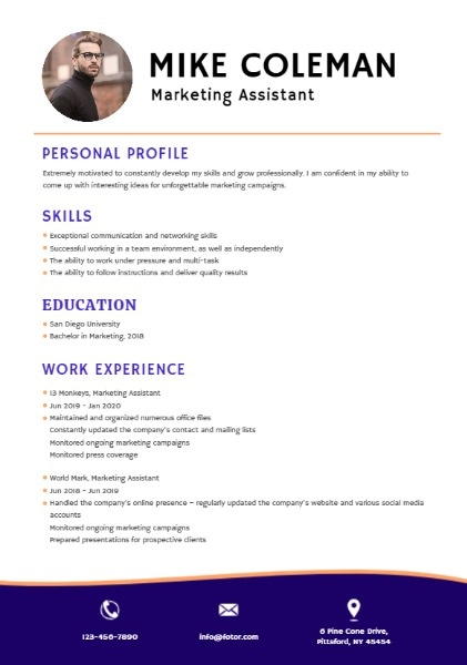 Marketing Assistant Purple Simple Resume