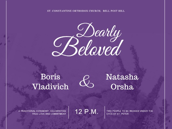 Floral Purple Wedding Invitation