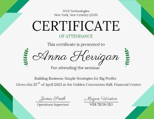 Green Basic Shape Certificate Of Attendance