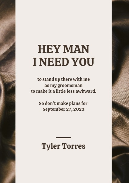 Modern Brown And White Best Man Invitation