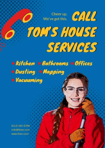 Blue House Cleaning Service Flyer