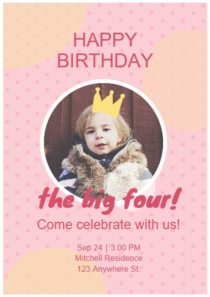 Pink Baby's Birthday Invitation