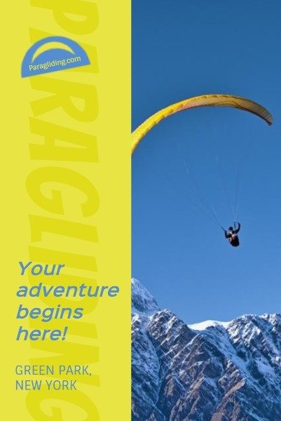 Blue And Yellow Paragliding Sport