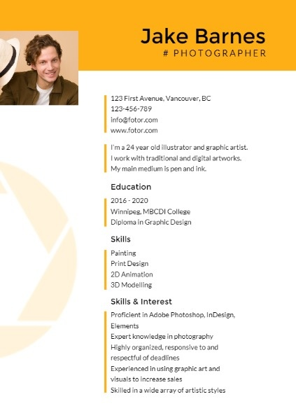 Photographer Yellow Resume