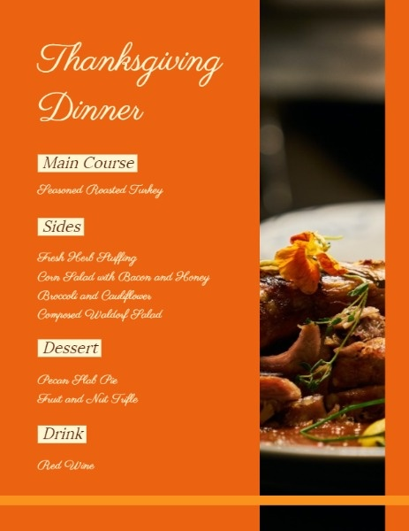 Orange Thanksgiving Menu