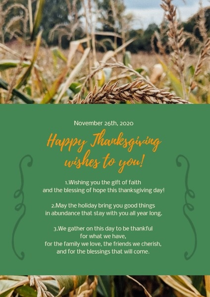 Green Thanksgiving Wish Poster