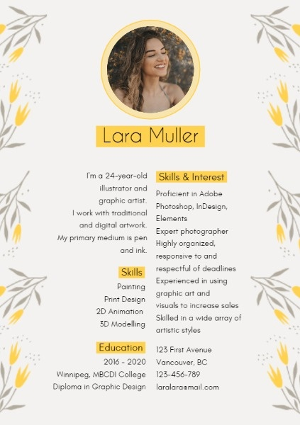 Yellow And White Floral Resume