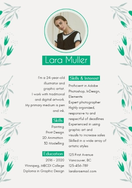 Simple Green And White Resume