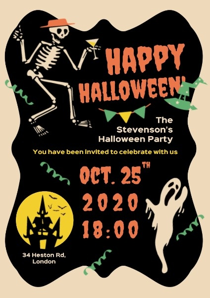 Vintage Halloween Party Night