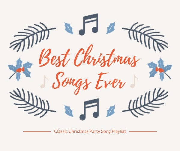 Online Christmas Music Playlist Facebook Post Template