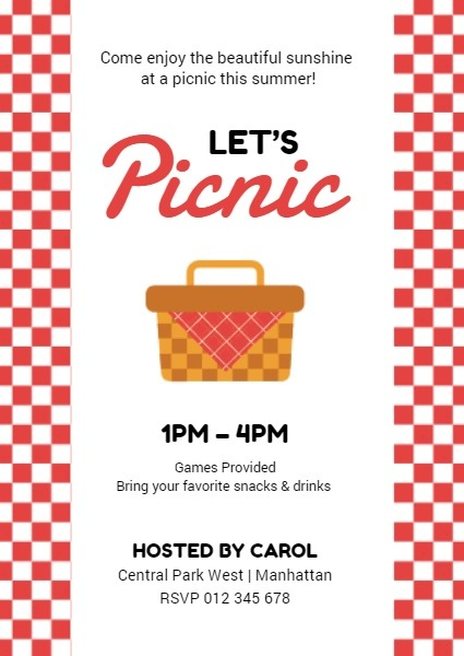 Red Check Summer Picnic Invitation
