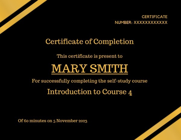 Black Yellow Certificate Of Completion