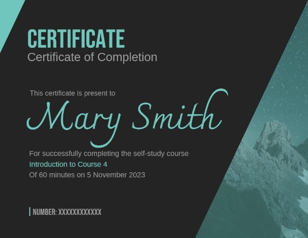 Certficate Of Course Completion